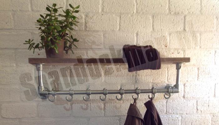 """Steigerbuis Kapstok wandmodel 3 """"Standaard"""" met houten plank"""